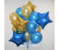 Облако шаров (синий металл, золото)