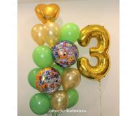 Фонтан из шариков с цифрой (Три кота)
