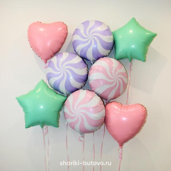 Фольгированные воздушные шары (микс макарунс)