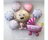 Композиция из фольгированных воздушных шаров на выписку