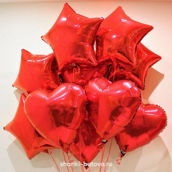 Фольгированный воздушный шар (Звезда/Сердце, Красные)