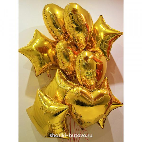 Фольгированный воздушный шар (Звезда/Сердце, Золото)