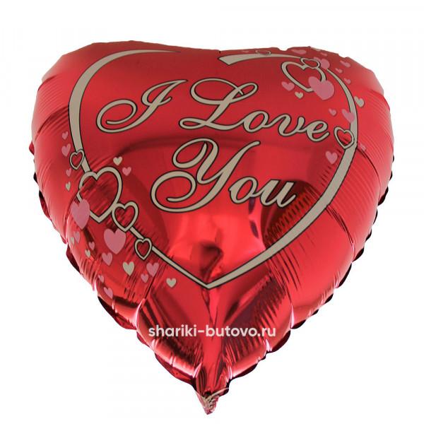 Фольгированный воздушный шар (I Love You)
