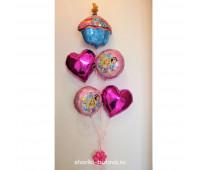 Фонтан из фольгированных воздушных шаров (принцессы)