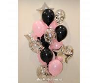 Фонтан из шариков (серебряные, розовые, черные)