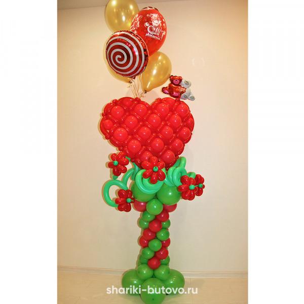 Сердце из воздушных шариков на стойке (высота 2м)