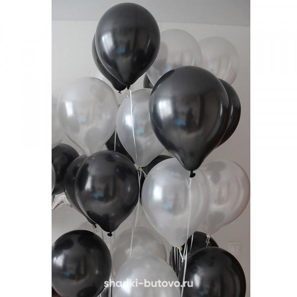 Гелиевые шары (черный и жемчуг)