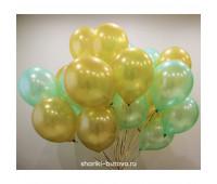 Гелиевые шары (лайт грин и золотые, металл)