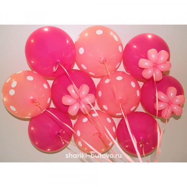 Гелиевые шары (розовые+горох и фуксия, пастель)