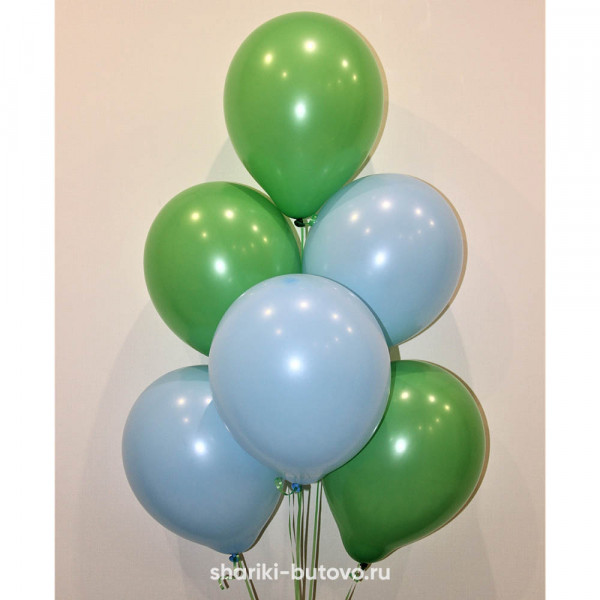 Гелиевые шары (голубой и зеленый, пастель)