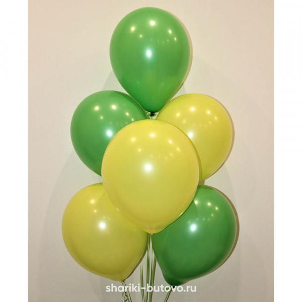 Гелиевые шары (желтый и зеленый, пастель)