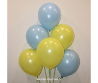 Гелиевые шары (голубой и желтый, пастель)
