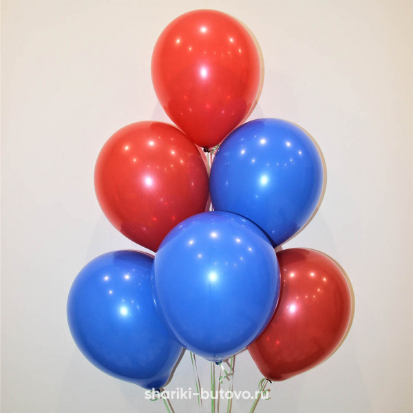 Гелиевые шары (красный и синий, пастель)