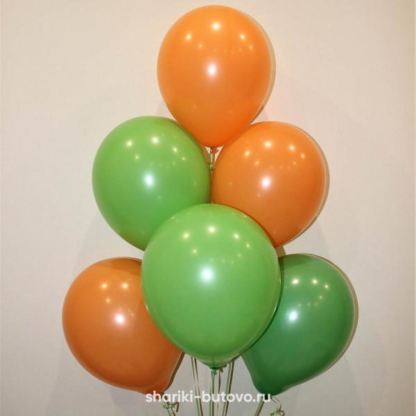 Гелиевые шары (ораньжевый и зеленый, пастель)