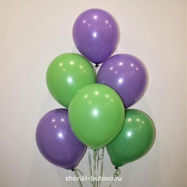 Гелиевые шары (фиолетовый и зеленые, пастель)