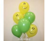 Гелиевые шары (зеленый и смайлы)