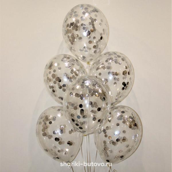 Гелиевые шары (серебряное конфетти)
