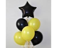 Гелиевые шары (желтый и черный, пастель)