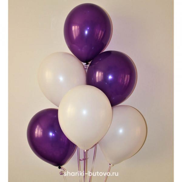 Гелиевые шары (белый и фиолетовый, пастель)