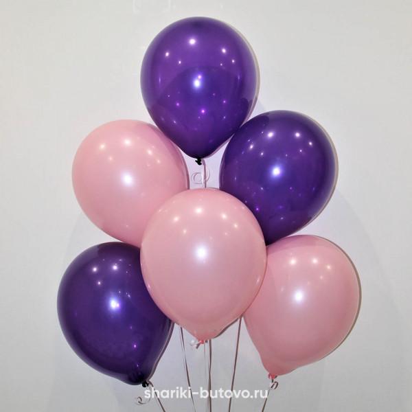 Гелиевые шары (розовый пастель и фиолетовый декоратор)