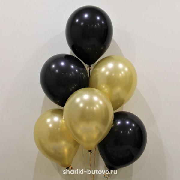 Гелиевые шары (золотой и черный)