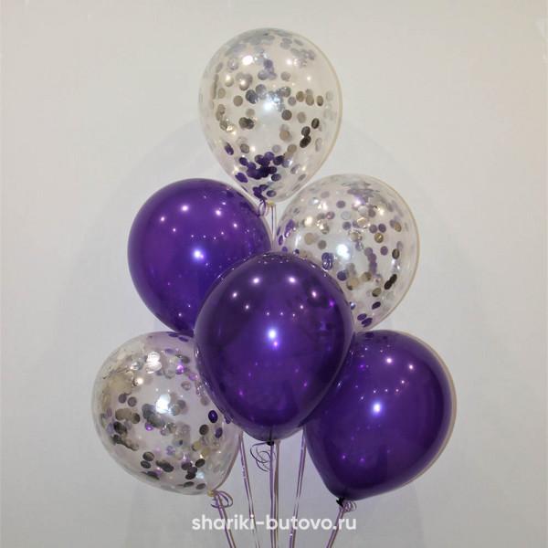 Гелиевые шары (фиолетовый декоратор и прозрачные с серебряным конфетти)