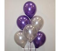 Гелиевые шары (фиолетовый и серый, металл)