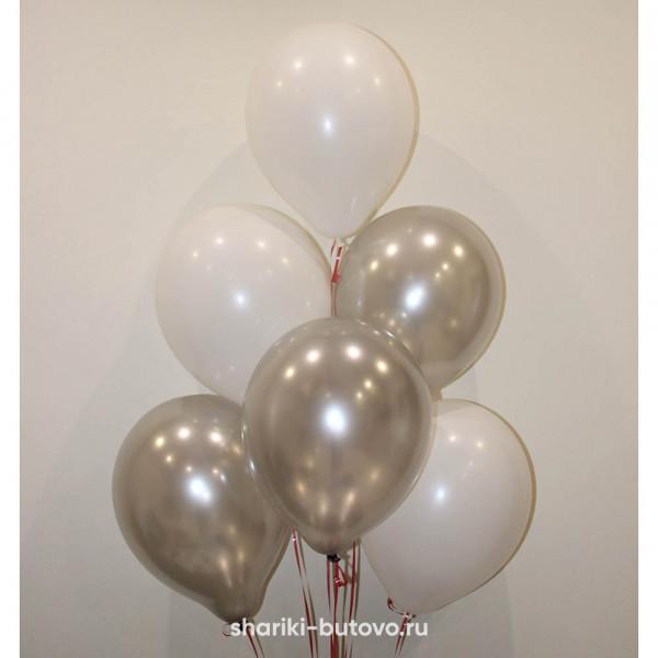 Гелиевые шары (белый пастель и серый металл)