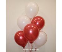 Гелиевые шары (белый  пастель и красный металл)