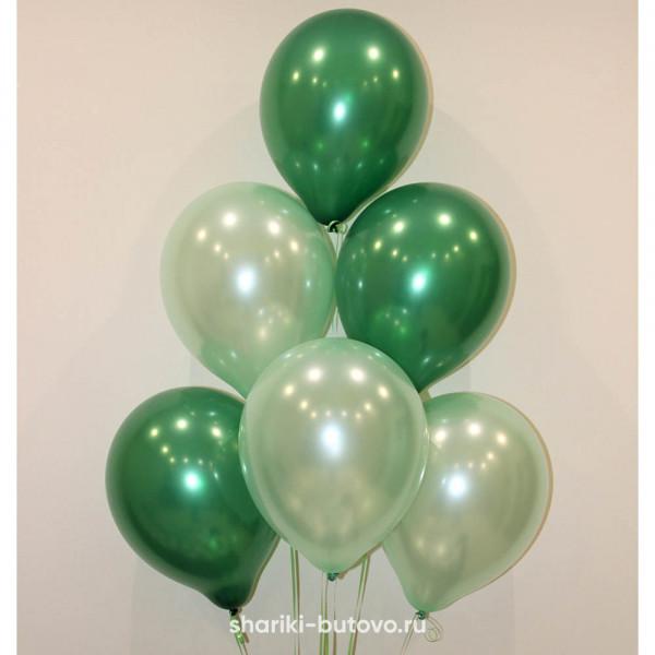 Гелиевые шары (зелены и жемчуг, металл)