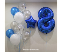 Фонтан из шариков с конфетти и цифрой