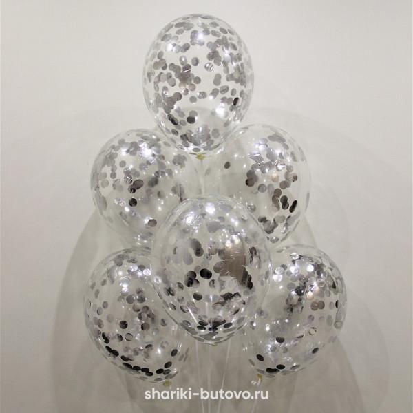 Гелиевые шары (прозрачные с конфетти)