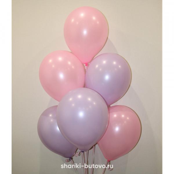 Гелиевые шары (розовый и сиреневый, пастель)