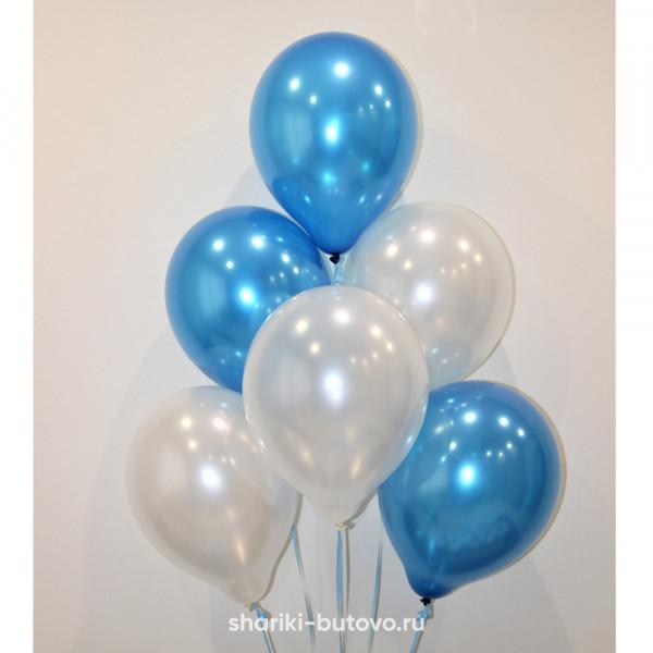 Гелиевые шары (синий и жемчуг, металл)