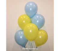 Гелиевые шары (желтый и голубой, пастель)