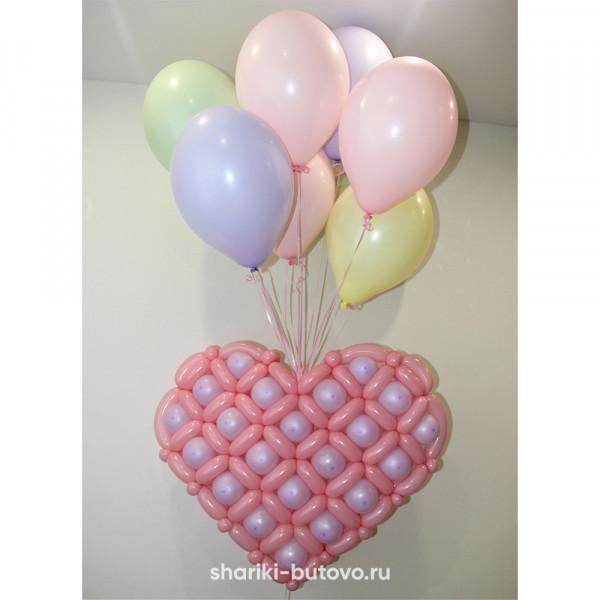 Плетёное сердце из воздушных шариков