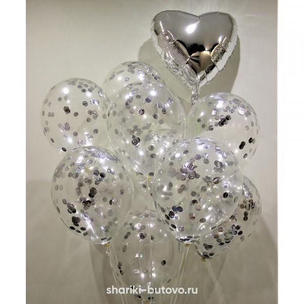 Гелиевые прозрачные шары с конфетти
