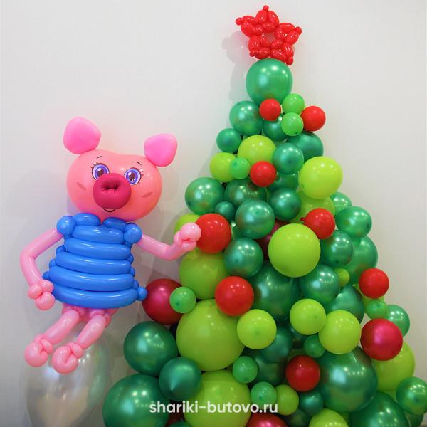 Большая елочка из воздушных шариков