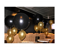 Оформление Черными и Золотыми шарами на свадьбу