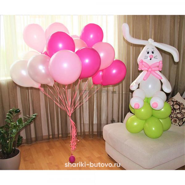 Облако шаров с зайкой на День Рождения