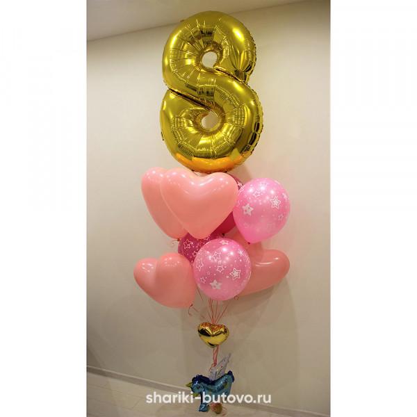 Фонтан из розовых шариков с цифрой
