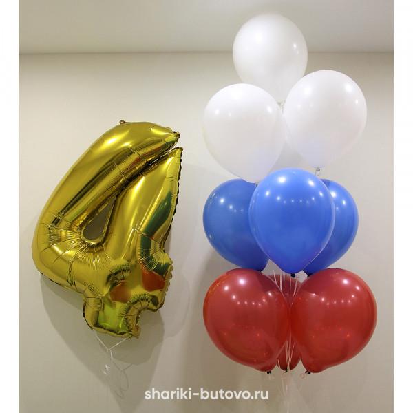 Фонтан из воздушных шаров и цифра