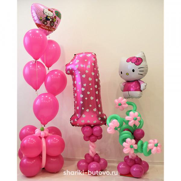 Композиция из шариков на День Рождения (Hello Kitty)