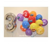 Гелиевые шары с фольгированной цифрой (тачки)