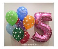 Композиция из шариков на День Рождения (горох)
